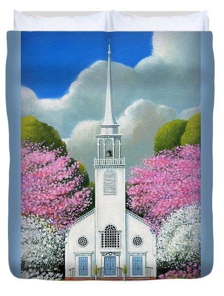 Church Of The Dogwoods Duvet Cover by John Deecken