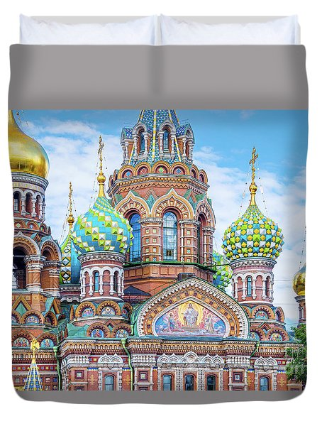 Duvet Cover featuring the photograph Church Of The Savior On Spilled Blood by Delphimages Photo Creations