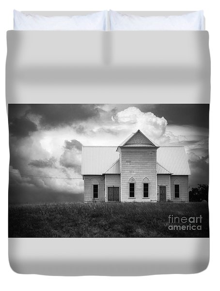 Church On Hill In Bw Duvet Cover