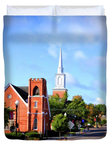 Duvet Cover featuring the photograph Church On Main Street - Christiansburg Virginia  by Kerri Farley
