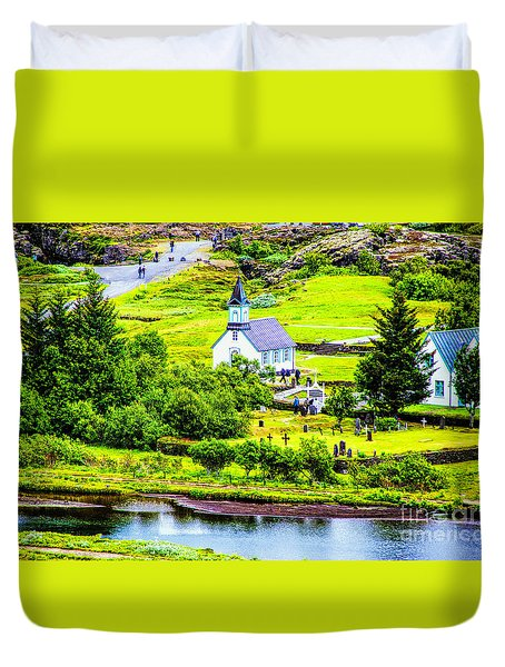 Church On The Green Duvet Cover