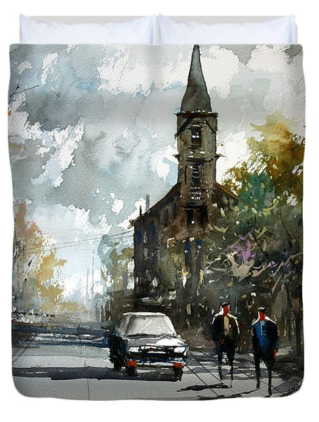 Church On The Hill Duvet Cover by Ryan Radke