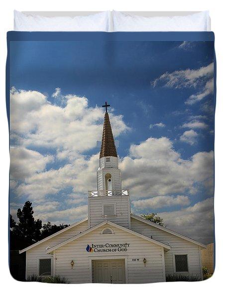 Duvet Cover featuring the photograph Church by Robert Hebert
