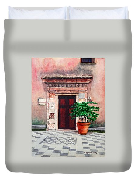 Church Side Door - Taormina Sicily Duvet Cover