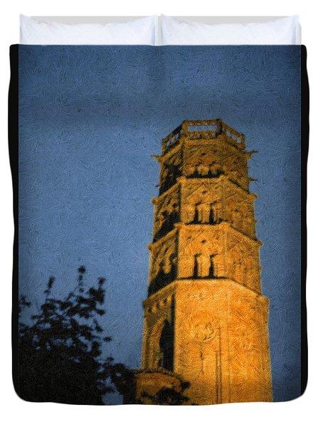 Duvet Cover featuring the photograph Church Steeple by Jean Bernard Roussilhe