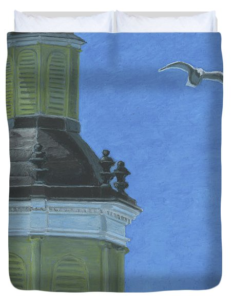 Church Steeple With Seagull Duvet Cover