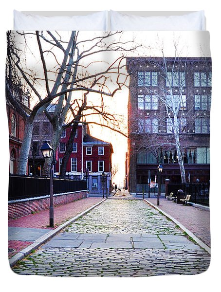 Church Street Cobblestones - Philadelphia Duvet Cover by Bill Cannon