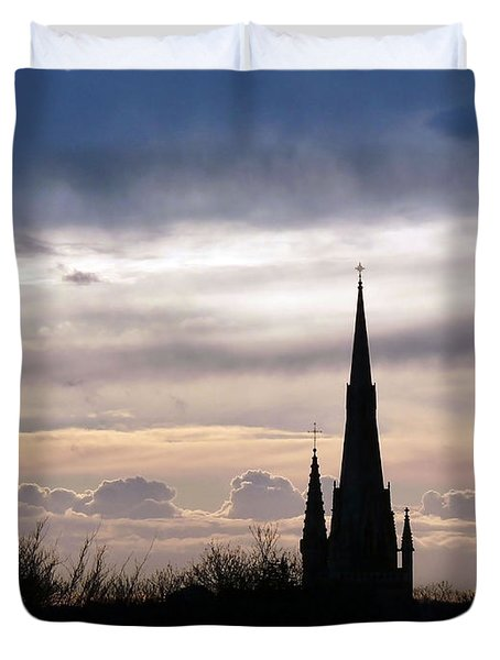 Duvet Cover featuring the photograph Church Top Silhouette by Francesca Mackenney