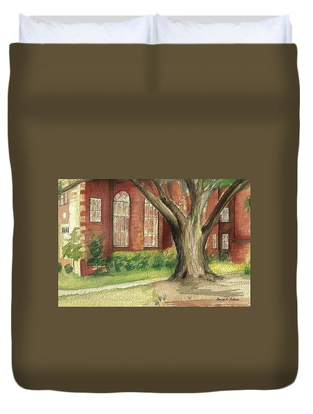 Duvet Cover featuring the painting Church Tree by Denise Fulmer