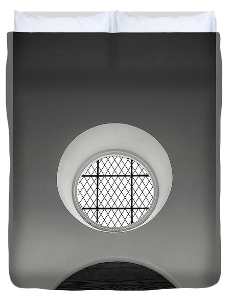 Church Window In Black And White Duvet Cover