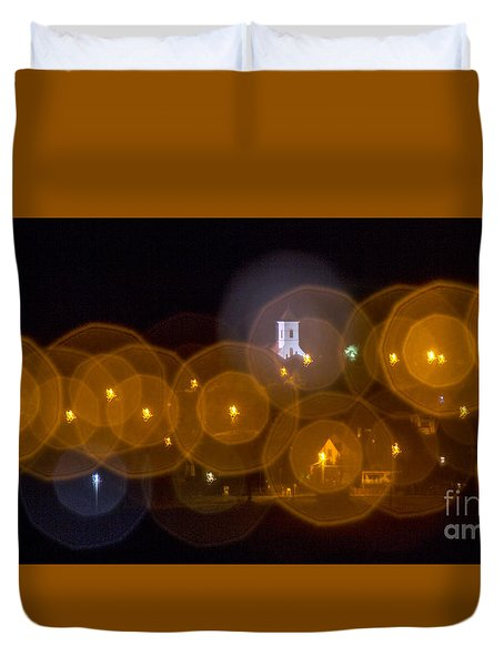 Duvet Cover featuring the photograph Church With Circle Bokeh by Odon Czintos