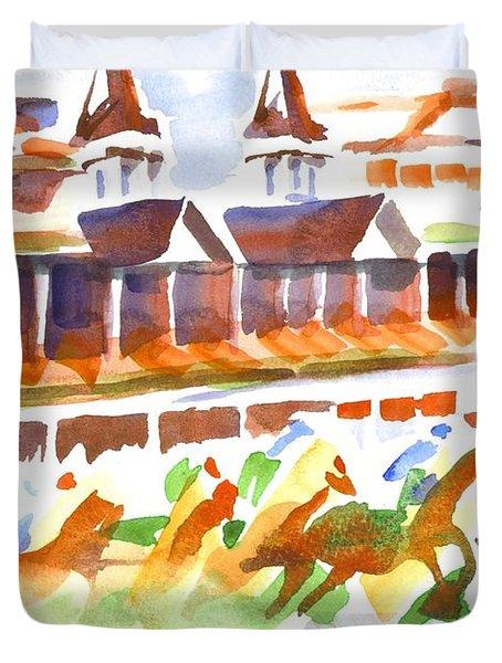 Churchill Downs Watercolor Duvet Cover