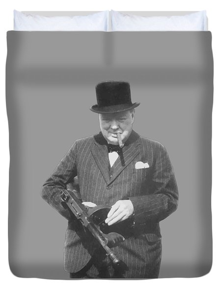 Churchill Posing With A Tommy Gun Duvet Cover