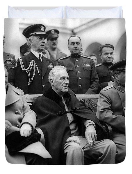 Churchill, Roosevelt And Stalin Duvet Cover