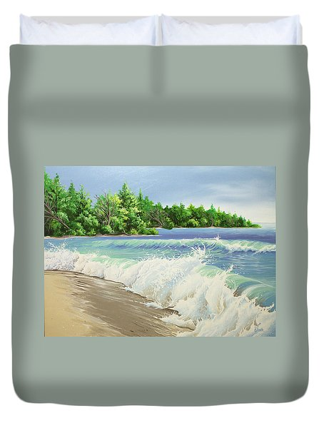 Duvet Cover featuring the painting Churning Sand  by William Love