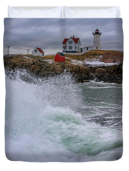 Duvet Cover featuring the photograph Churning Seas At Cape Neddick by Rick Berk