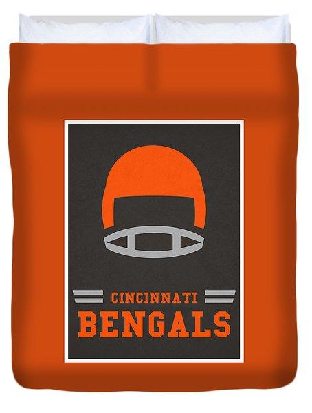 Cincinnati Bengals Vintage Art Duvet Cover by Joe Hamilton