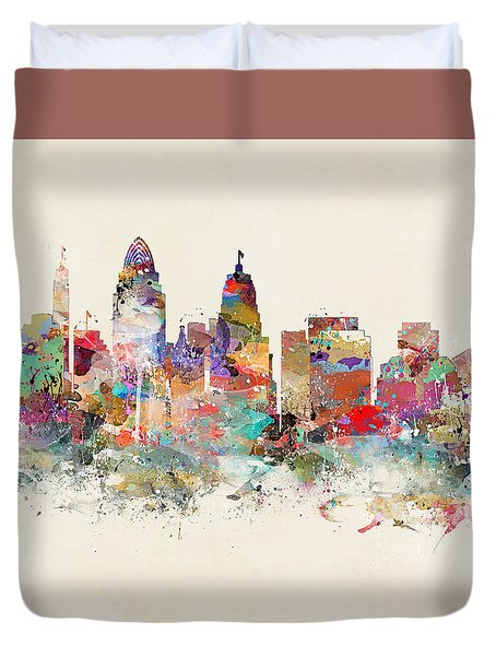 Cincinnati City Skyline Duvet Cover