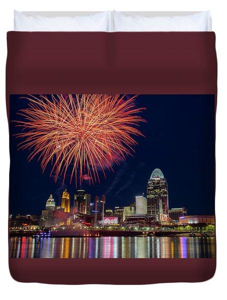 Cincinnati Fireworks Duvet Cover