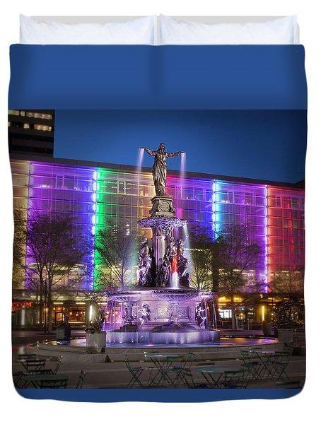 Cincinnati Fountain Square Duvet Cover by Scott Meyer