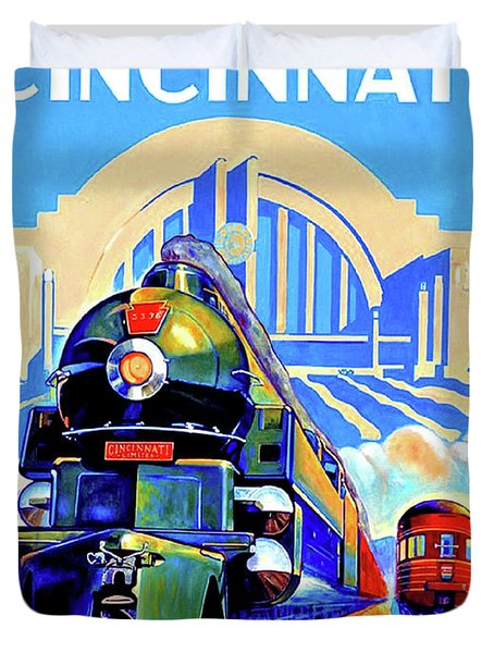 Cincinnati Railway, Trains, Travel Poster Duvet Cover