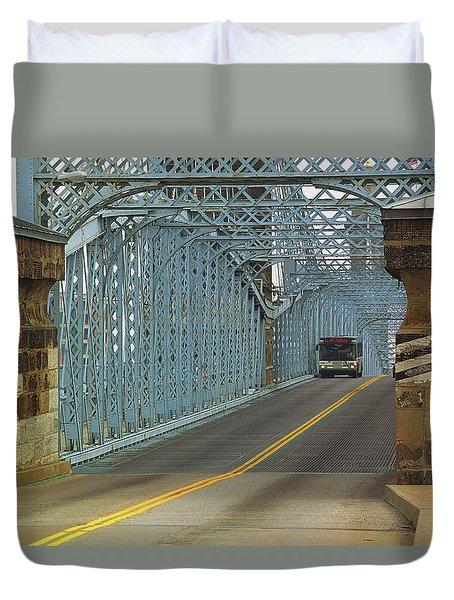 Cincinnati - Roebling Bridge 1 Duvet Cover by Frank Romeo