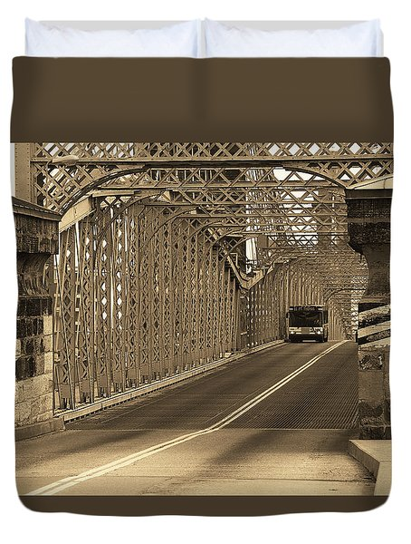 Cincinnati - Roebling Bridge 1 Sepia Duvet Cover by Frank Romeo