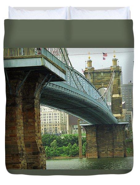 Cincinnati - Roebling Bridge 2 Duvet Cover by Frank Romeo