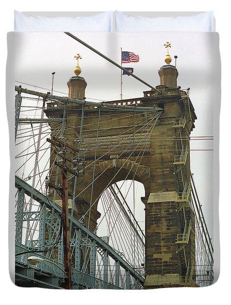 Cincinnati - Roebling Bridge 4 Duvet Cover by Frank Romeo