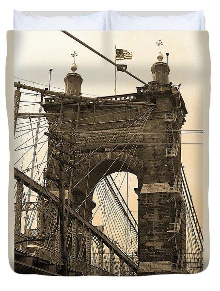 Cincinnati - Roebling Bridge 4 Sepia Duvet Cover by Frank Romeo
