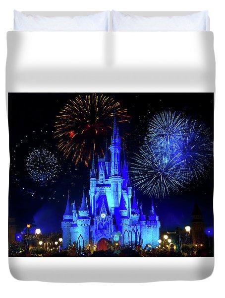 Cinderella Castle Fireworks Duvet Cover