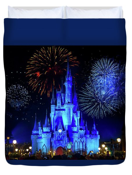 Cinderella Castle Fireworks Duvet Cover by Mark Andrew Thomas