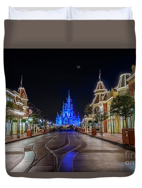Cinderella Castle Glow Over Main Street Usa Duvet Cover
