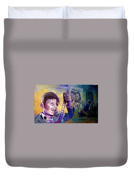 Duvet Cover featuring the painting Cinema Paradiso by Paul Weerasekera