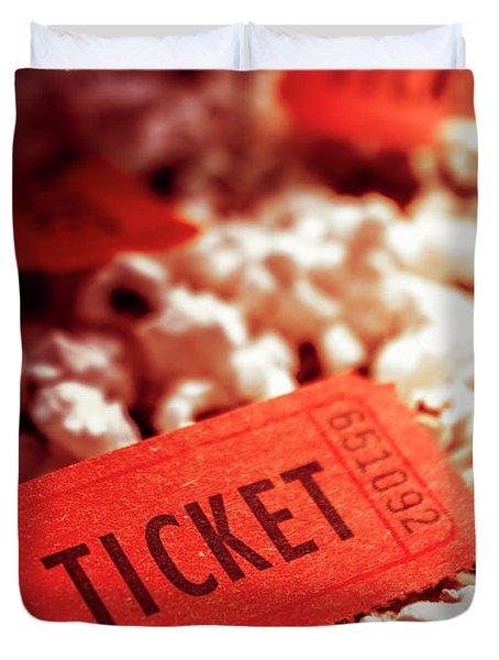Cinema Ticket On Snackbar Food Duvet Cover