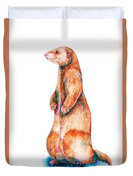 Duvet Cover featuring the painting Cinnamon Ferret by Zaira Dzhaubaeva