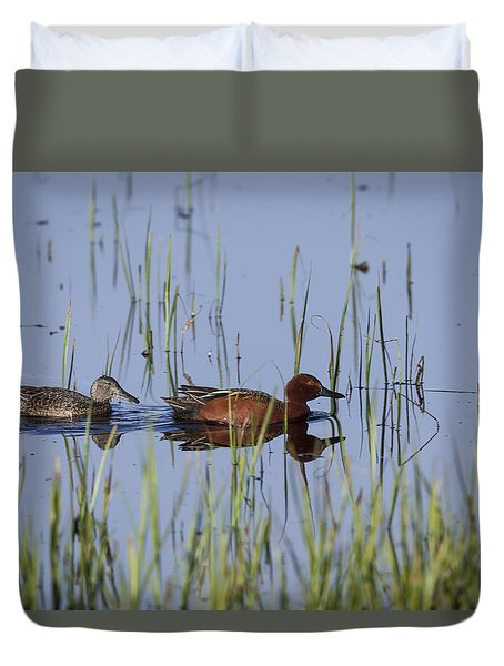 Cinnamon Teal Pair Duvet Cover