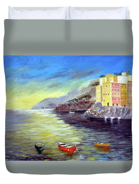Duvet Cover featuring the painting Cinque Terre Dreams by Larry Cirigliano