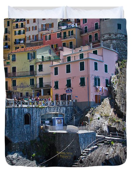 Cinque Terre Harbor And Town Duvet Cover by Roger Mullenhour