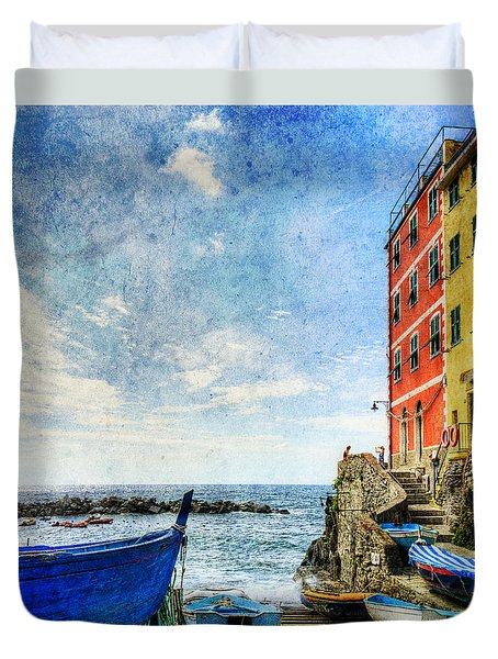 Cinque Terre - Little Port Of Riomaggiore - Vintage Version Duvet Cover