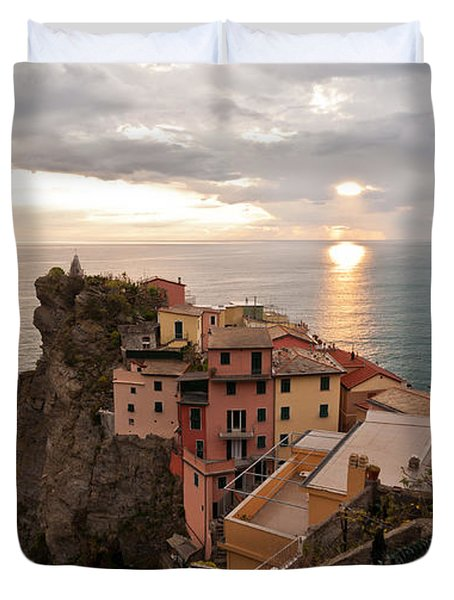 Cinque Terre Tranquility Duvet Cover by Mike Reid