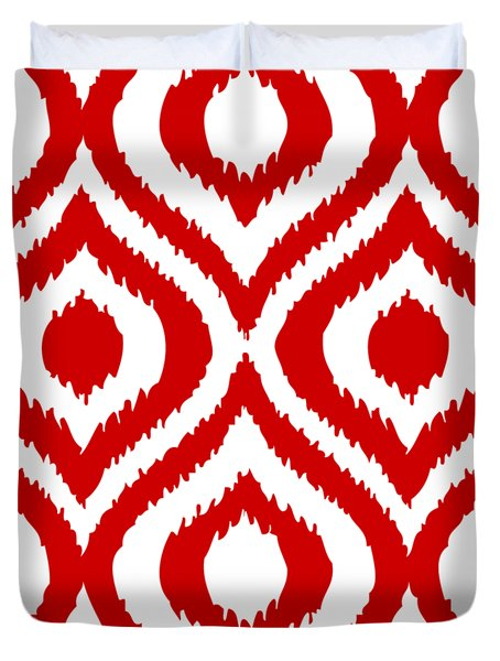 Circle And Oval Ikat In White T02-p0100 Duvet Cover