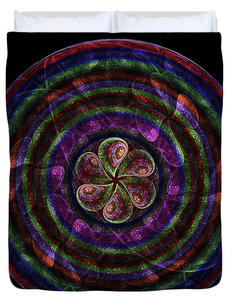 Duvet Cover featuring the digital art Circle Flower by Angie Tirado