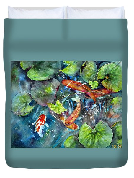 Circle Of Koi Duvet Cover by Mary McCullah