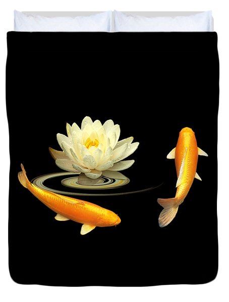Circle Of Life - Koi Carp With Water Lily Duvet Cover