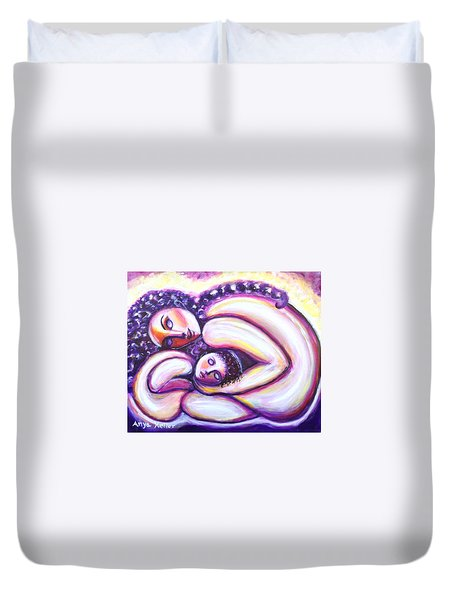 Duvet Cover featuring the painting Circle Of Love by Anya Heller