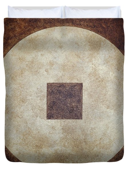 Duvet Cover featuring the painting Circle Square by Julie Niemela