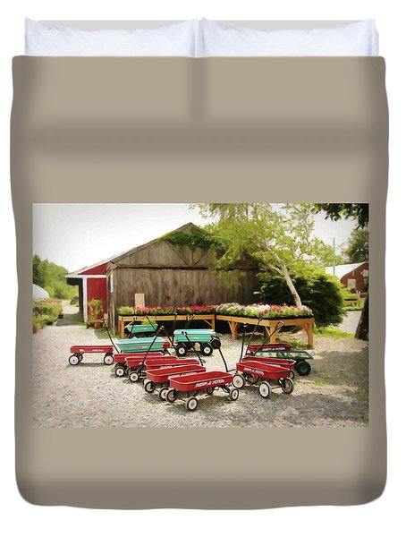 Circle The Wagons Duvet Cover