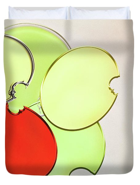 Circles Of Red, Yellow And Green Duvet Cover