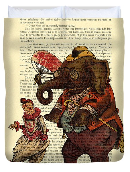 Clown With Circus Elephant Vintage Illustration Duvet Cover